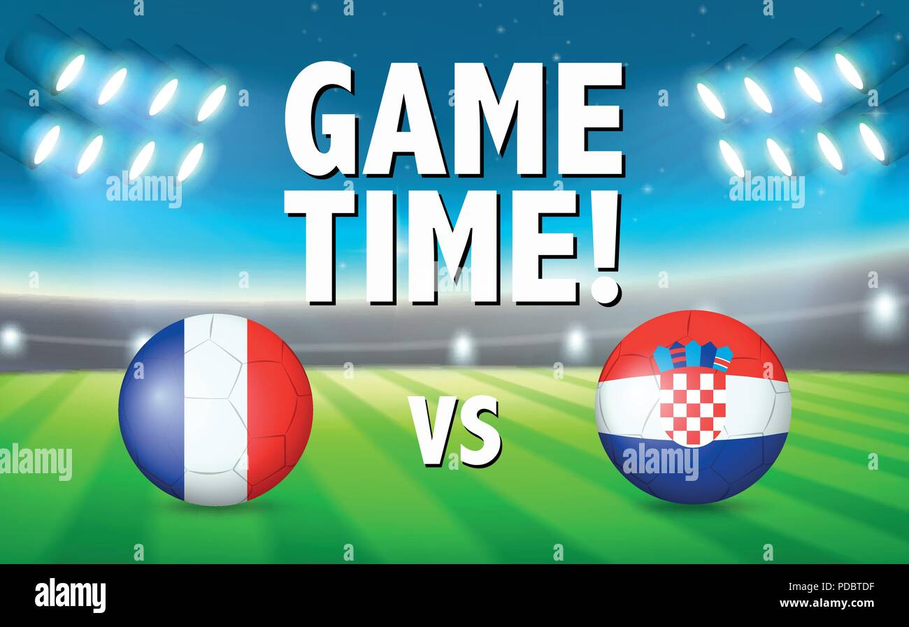 Game time france vs croatia illustration - Stock Vector