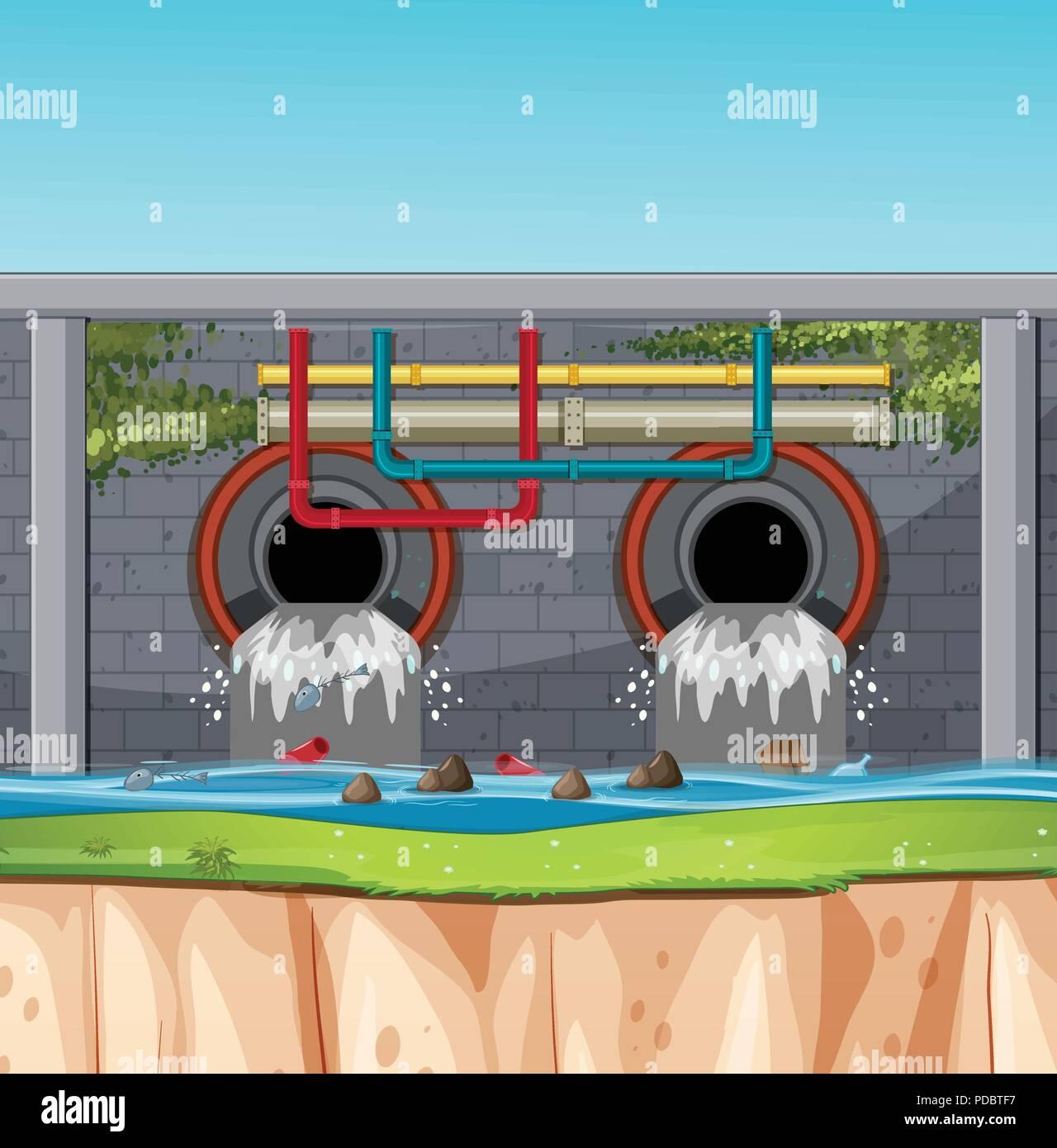 A sewage tunnel scene illustration - Stock Image