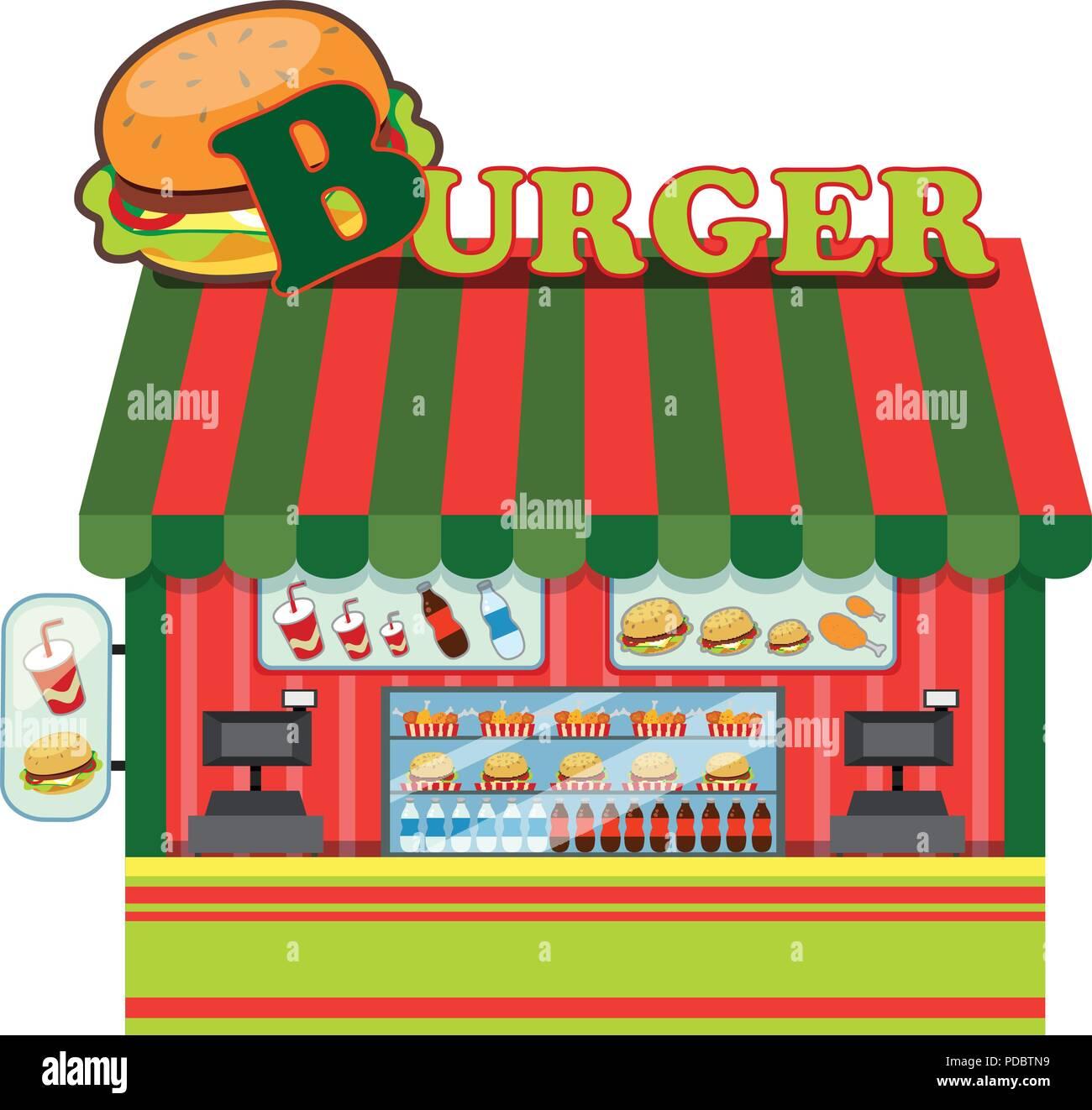 Exterior of a burger shop illustration - Stock Vector