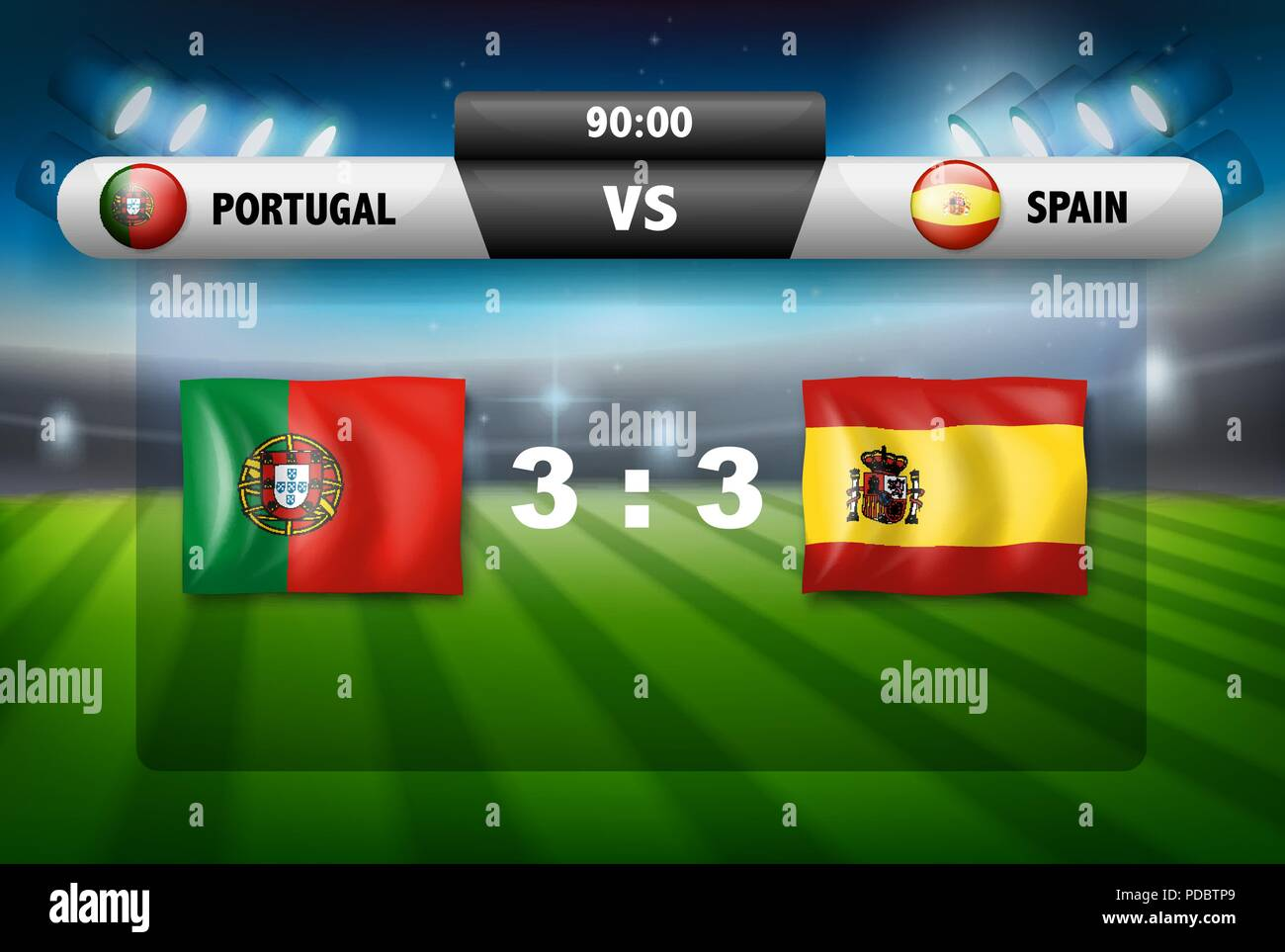 Protugal VS Spain scoreboard illustration - Stock Vector