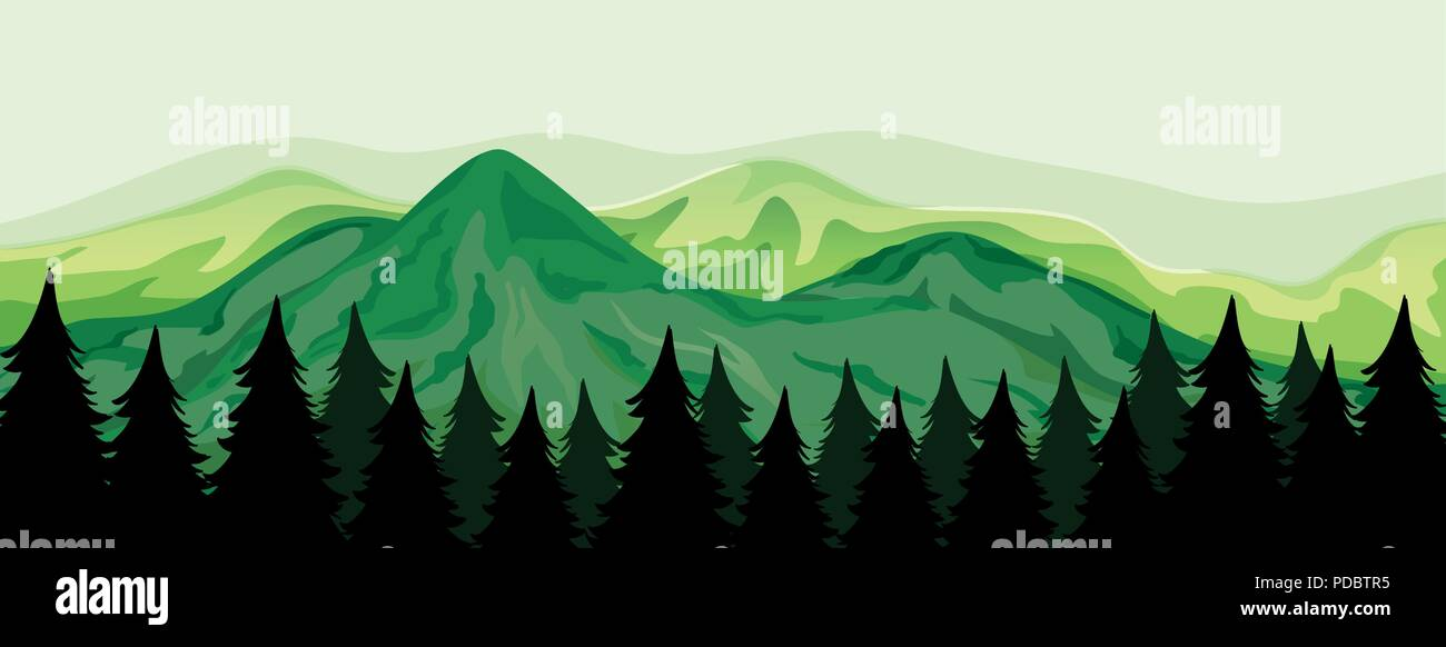 A beautiful mountain view illustration - Stock Vector