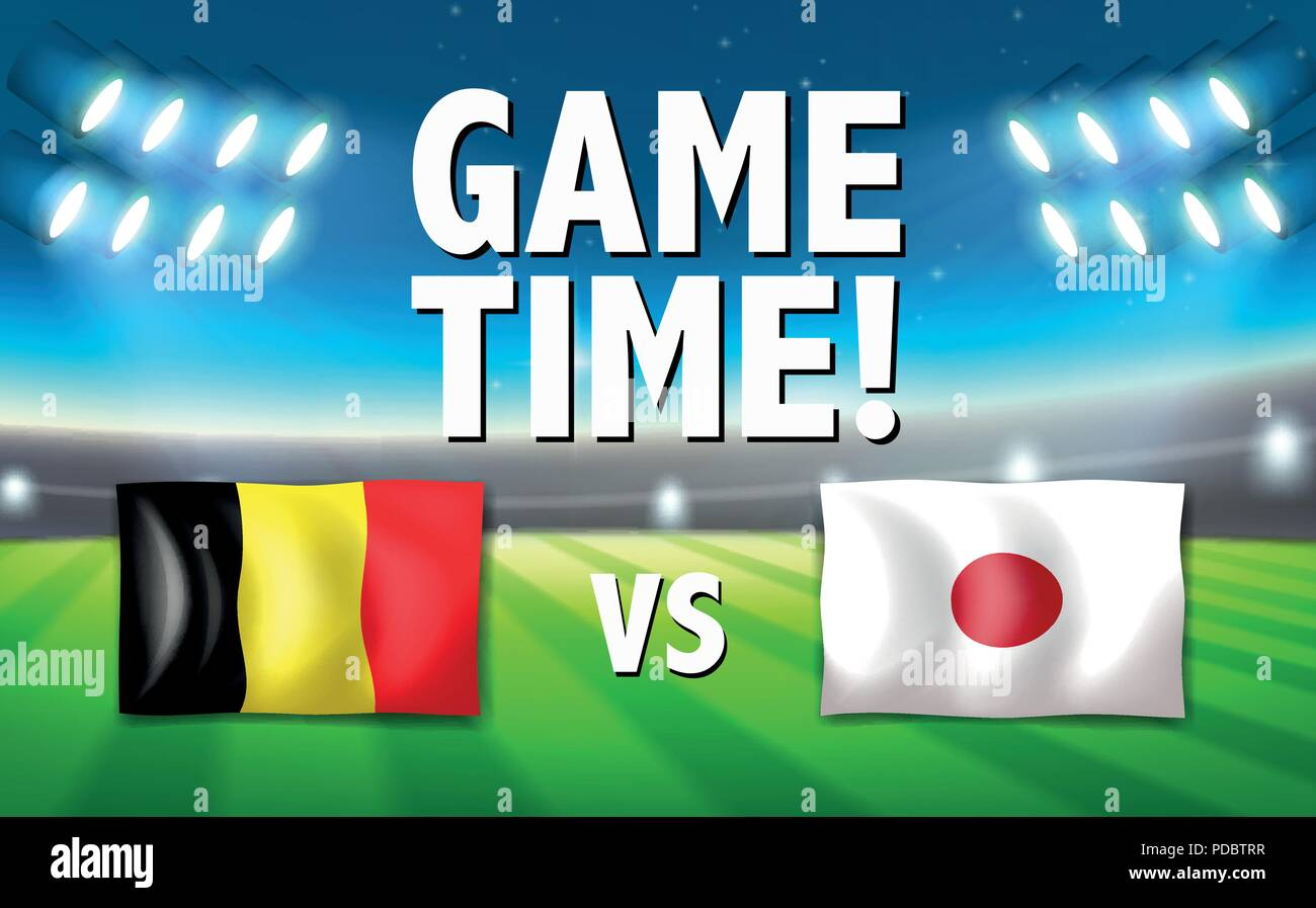 Game time belgium vs japan illustration - Stock Vector