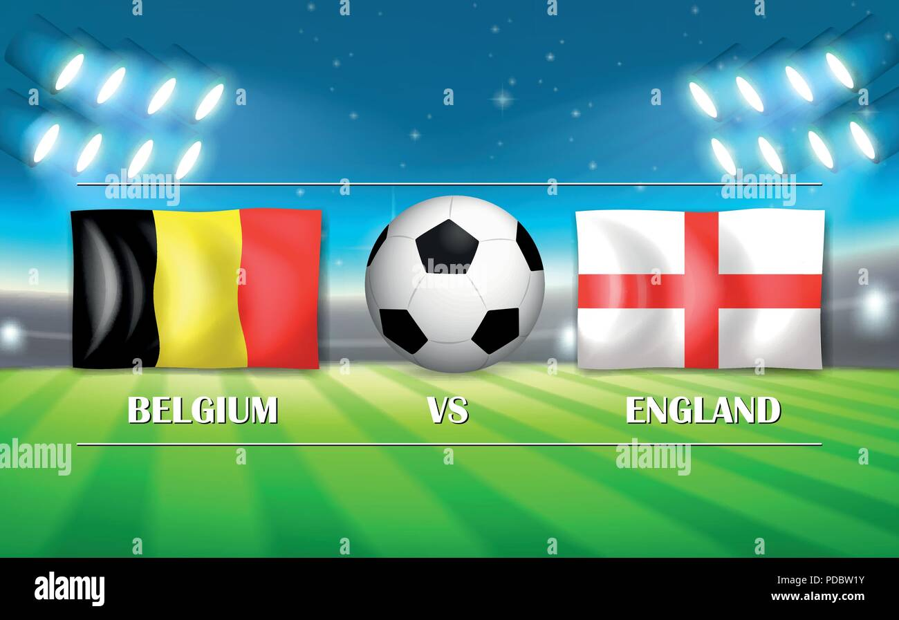Belgium VS England template illustration - Stock Vector