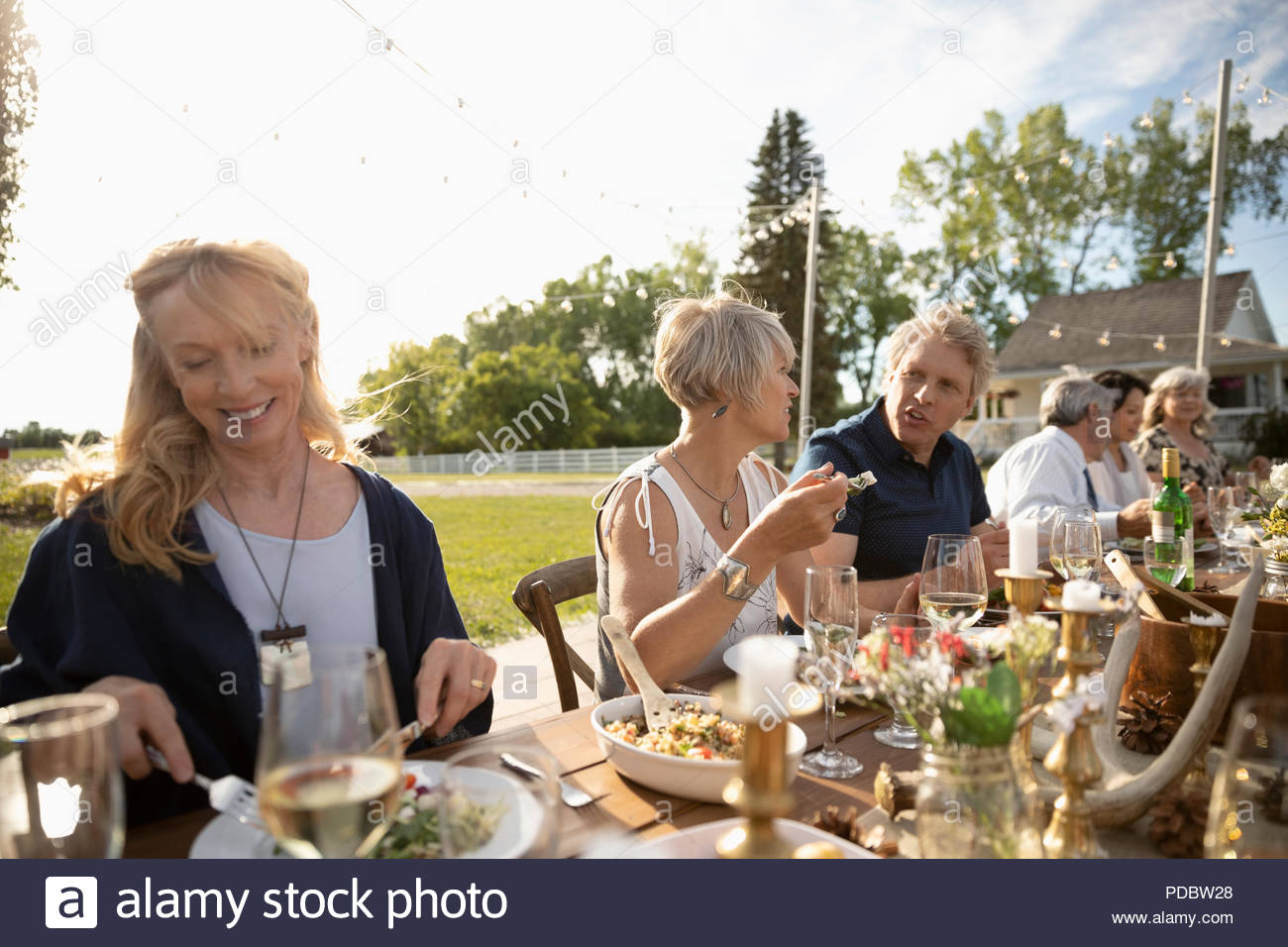 Friends eating and drinking at sunny garden party lunch - Stock Image