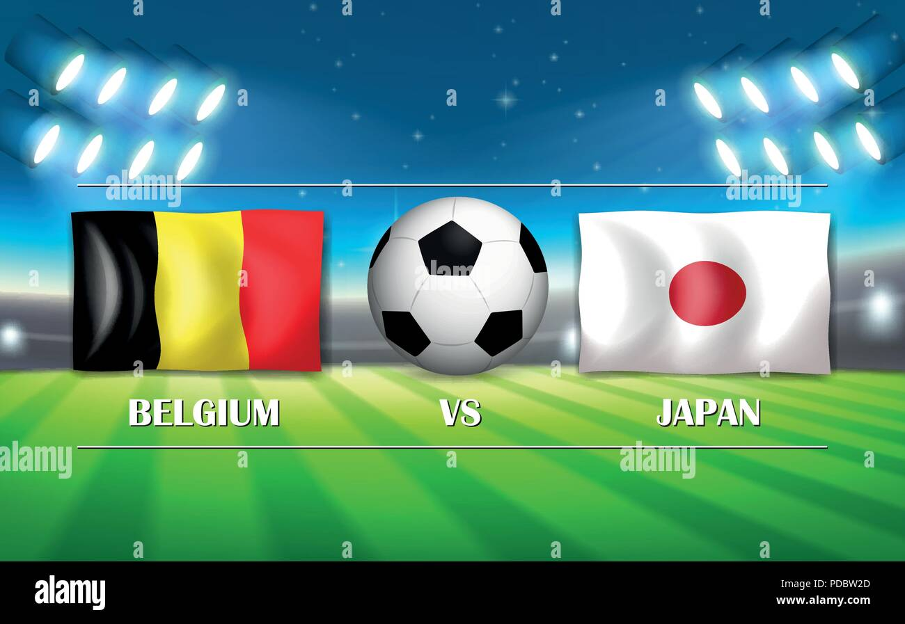 Belgium VS Japan template illustration - Stock Vector