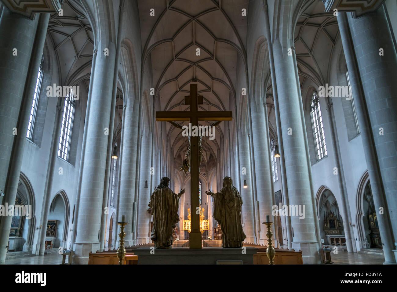 Innenraum, Kirchenschiff des Liebfrauenmünster, Ingolstadt, Oberbayern, Bayern, Deutschland, Europa   Interior, nave of the Liebfrauenmünster, Ingolst - Stock Image