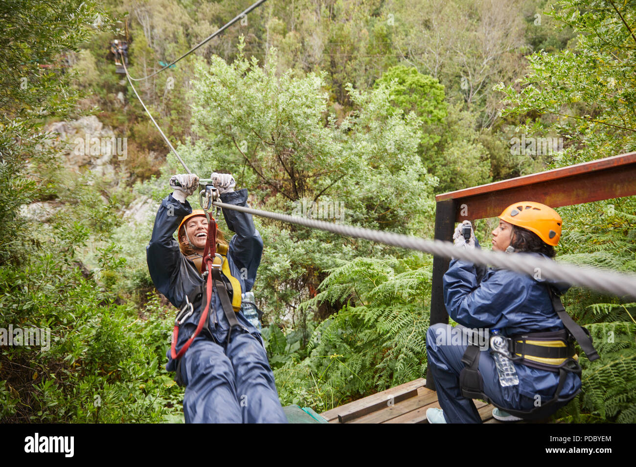Woman zip lining above trees - Stock Image