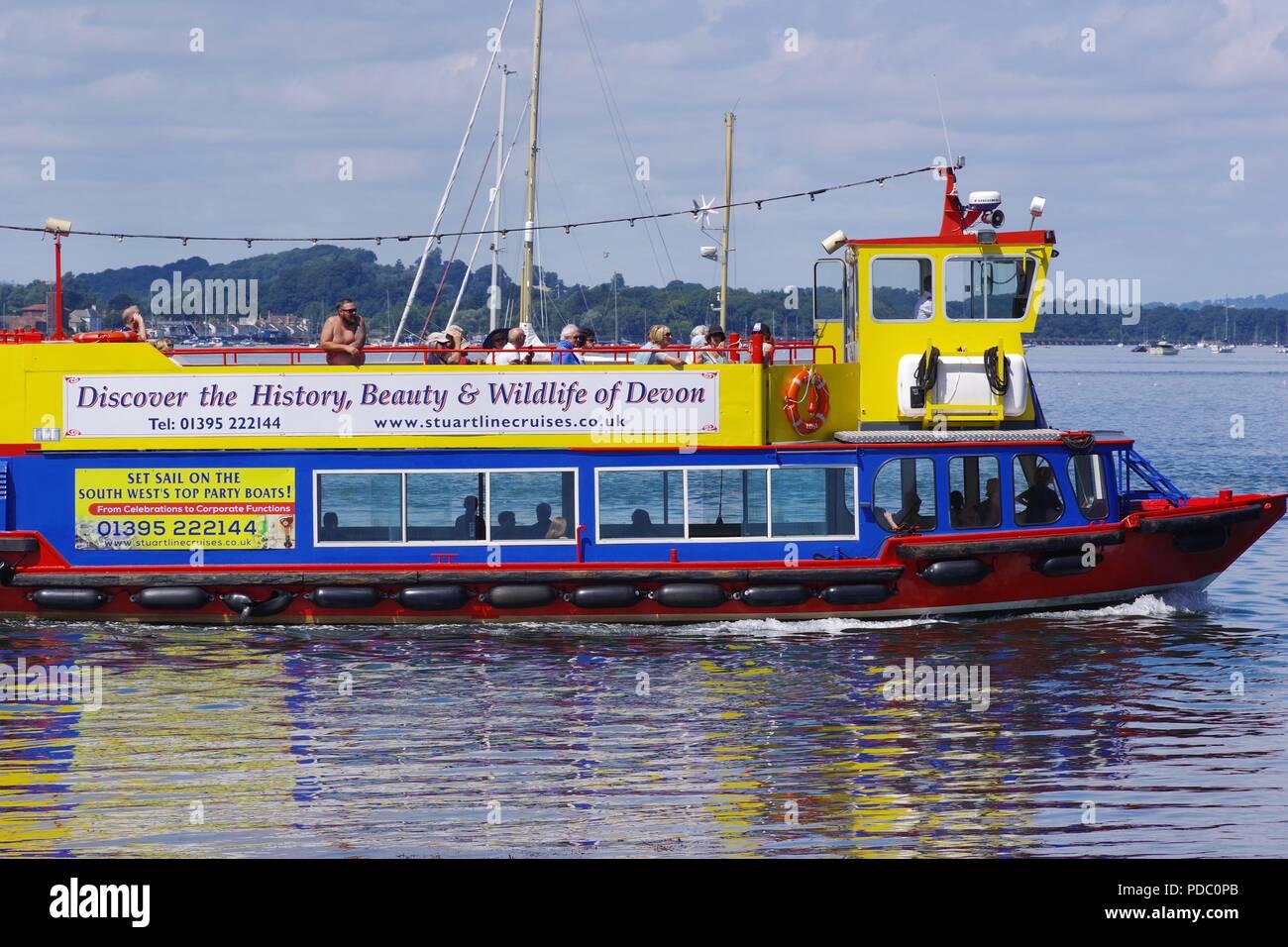 Pride of Exmouth, Stuart Line Cruises Ferry Boat on the Exe Estuary Heading to Exmouth. Dawlish Warren, Devon, UK. 2018. - Stock Image