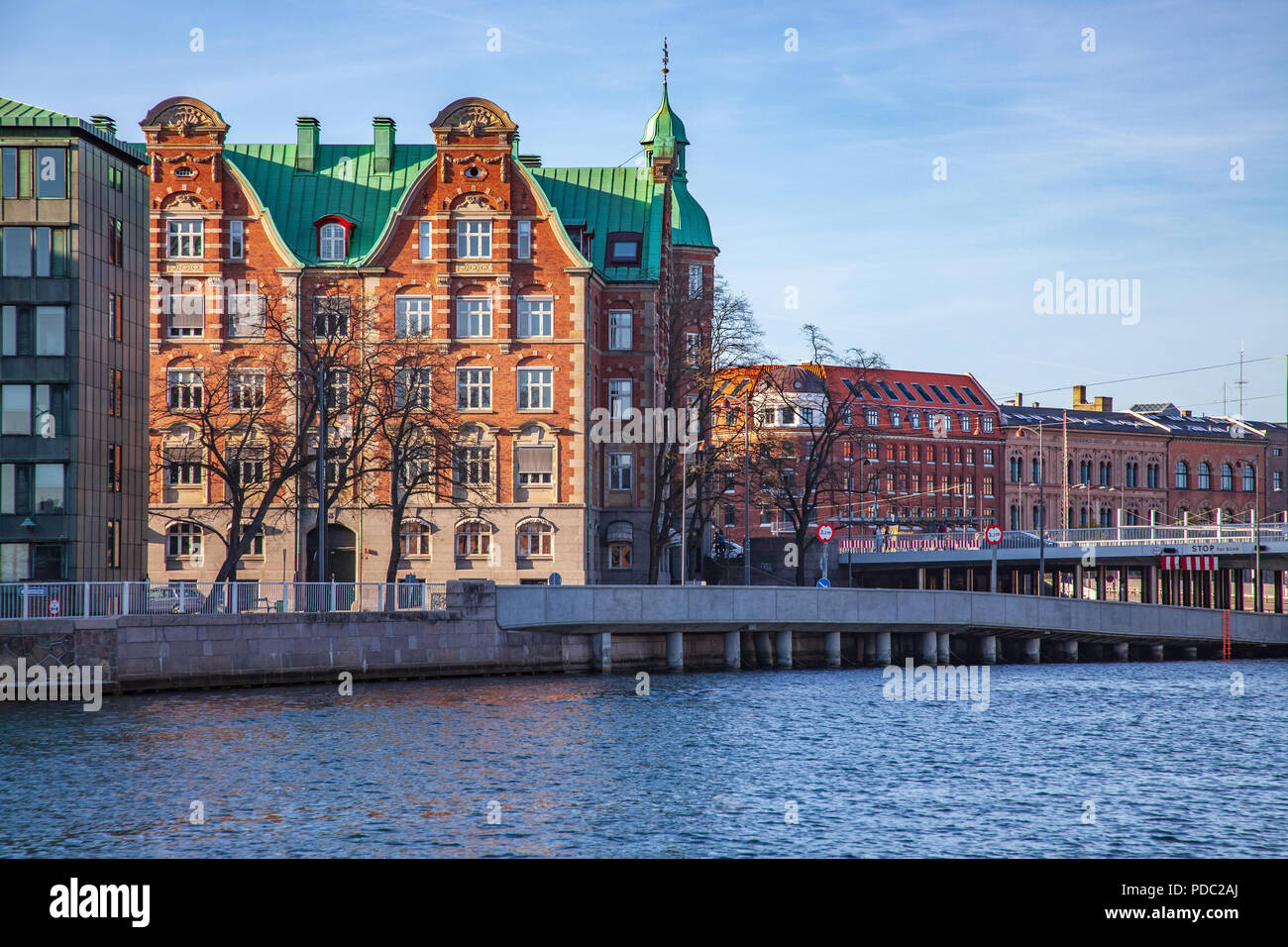 front view of cityscape with buildings and river in Copenhagen, Denmark - Stock Image