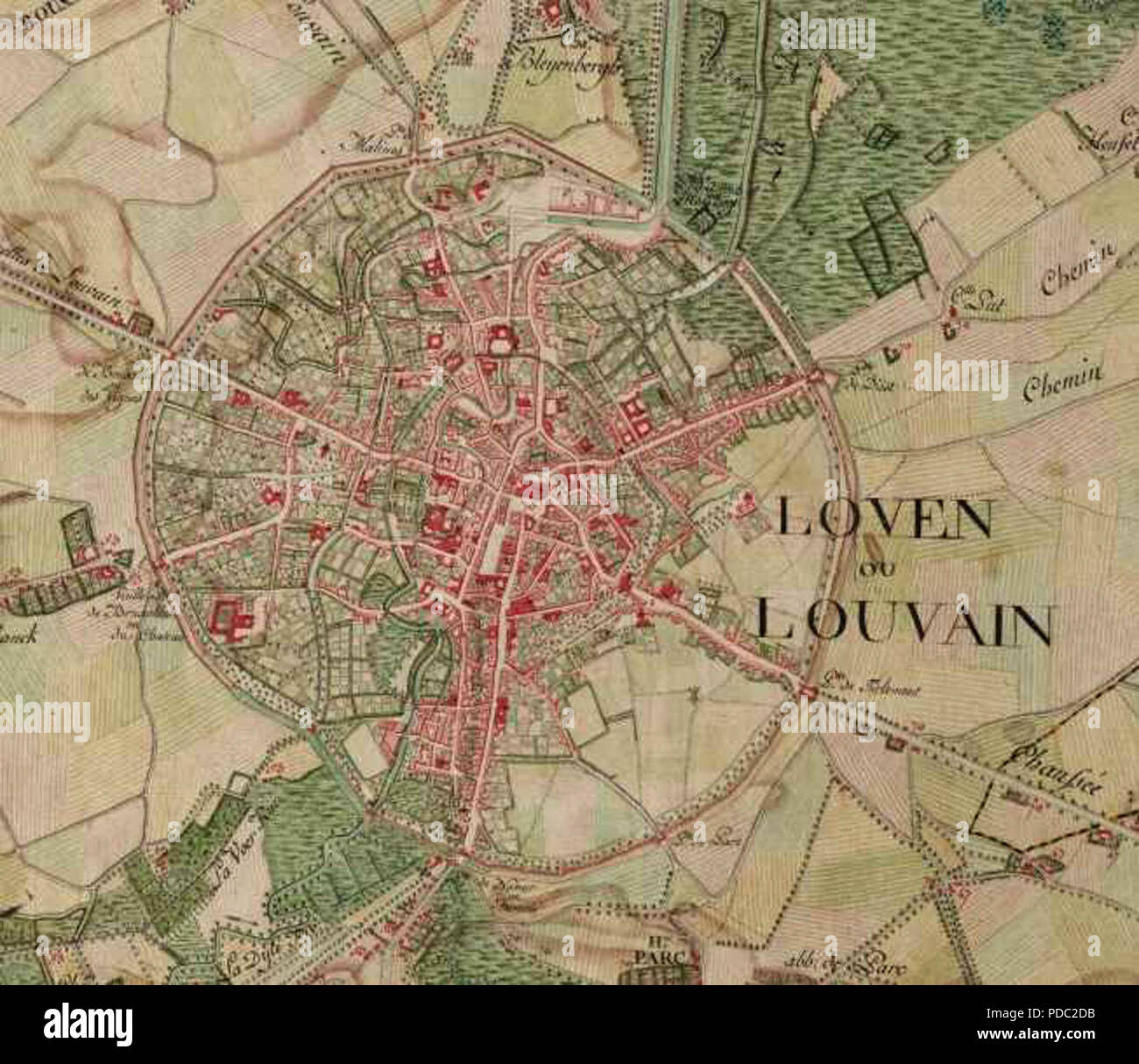 Ferrari World Map.Leuven On The Ferraris Map Around 1775 Stock Photo 214780311 Alamy