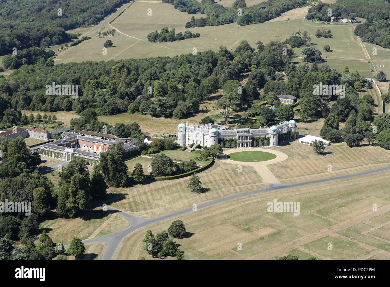 Aerial view of Goodwood House, home of the Duke of Richmond & Gordon - Stock Image