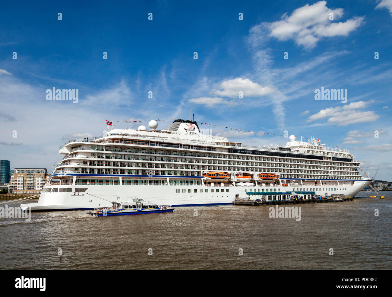 The Viking Sky Cruise Liner Moored On The River Thames At Greenwich, London, UK - Stock Image
