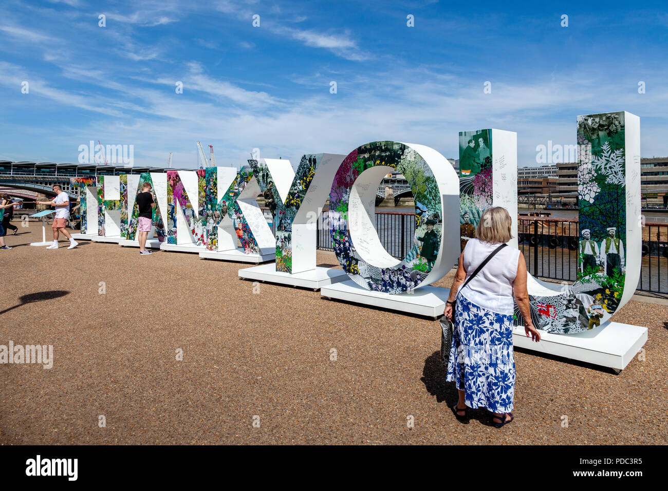 A Giant 'Thank You' Installation On The Southbank To Honour The First World War Generation, The Southbank, London, England - Stock Image