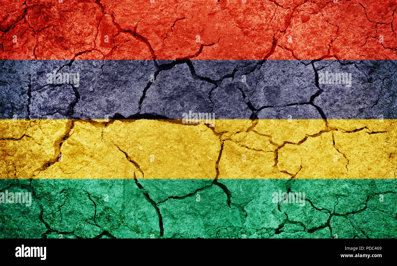 Republic of Mauritius flag on dry earth ground texture background - Stock Image