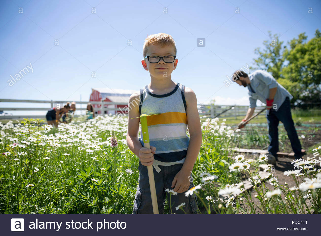 Portrait smiling confident boy gardening with family in sunny rural garden - Stock Image