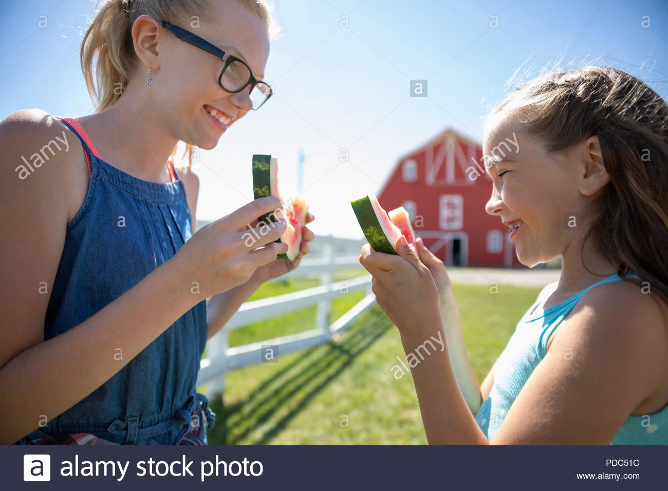 Happy sisters eating watermelon on sunny rural farm - Stock Image