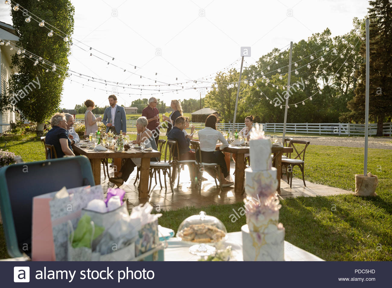 Friends celebrating behind tiered wedding cake, gifts and flowers on patio table - Stock Image