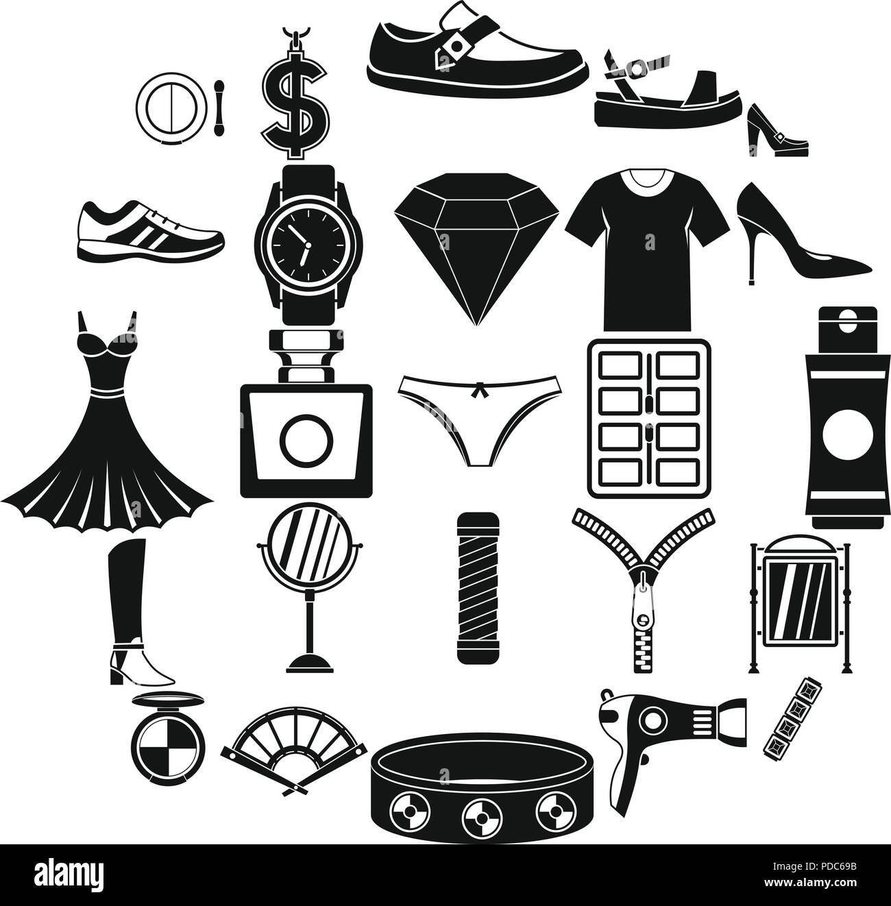 f301557947b Women accessories icons set, simple style Stock Vector Art ...