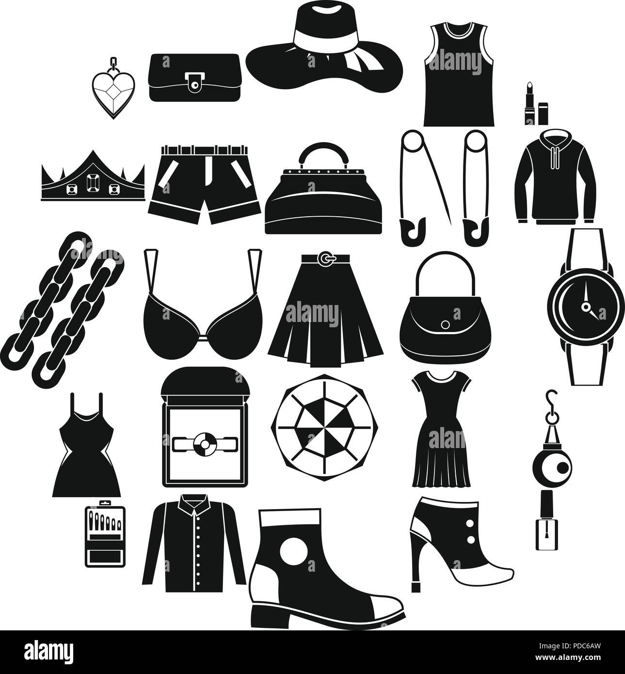 Possessions icons set, simple style Stock Vector