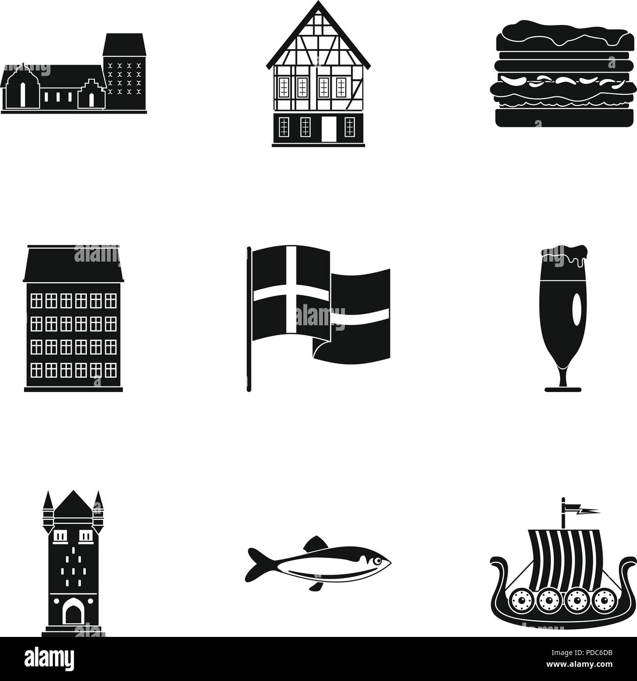 Hinterland icons set, simple style - Stock Image