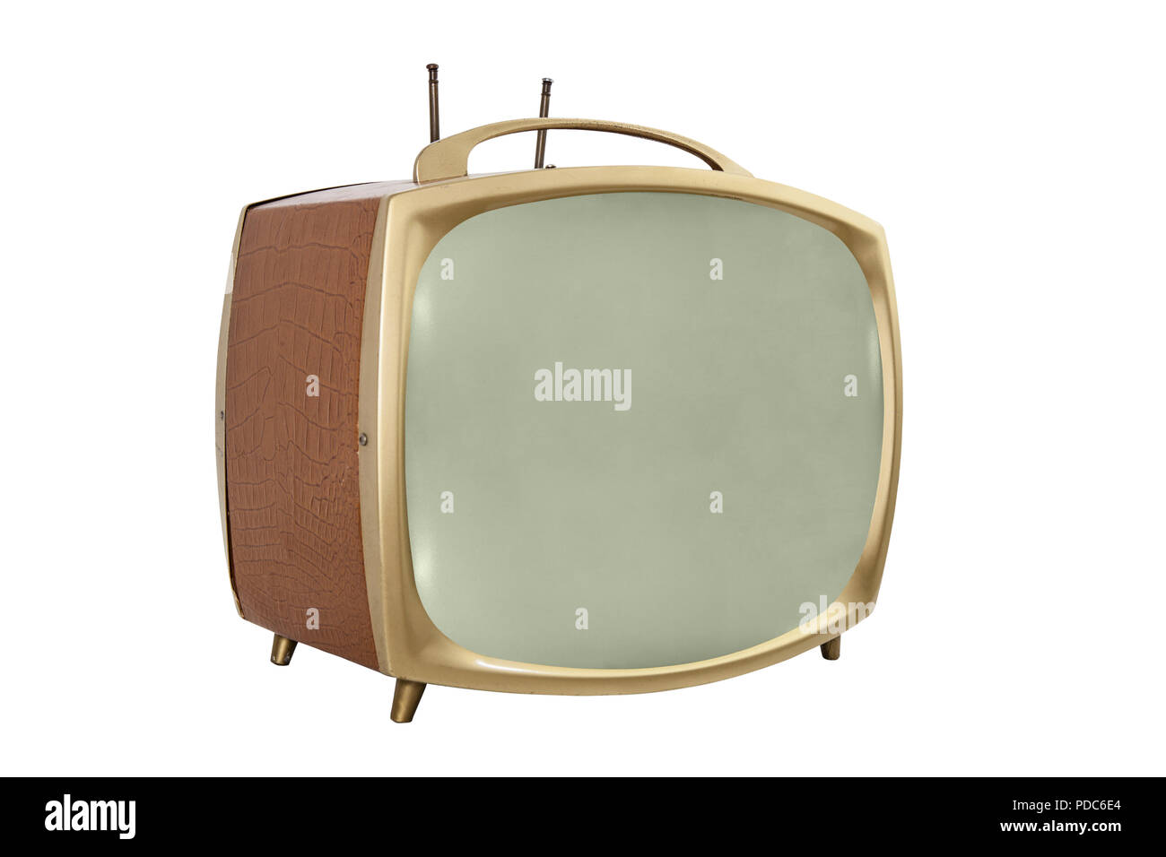Retro 1950s portable television with off screen. - Stock Image