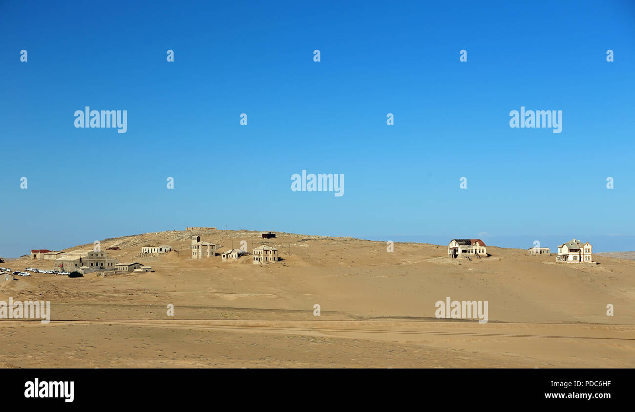 General view of Kolmanskop, a former diamond-mining town abandoned to the Namib desert in the 1950s. - Stock Image
