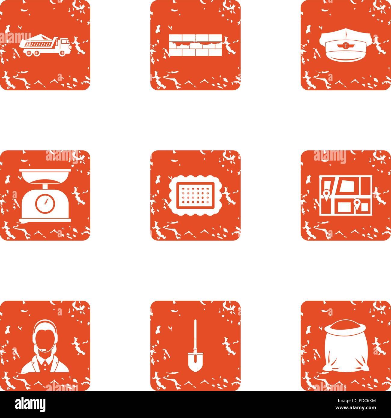 Online positioning icons set, grunge style - Stock Image