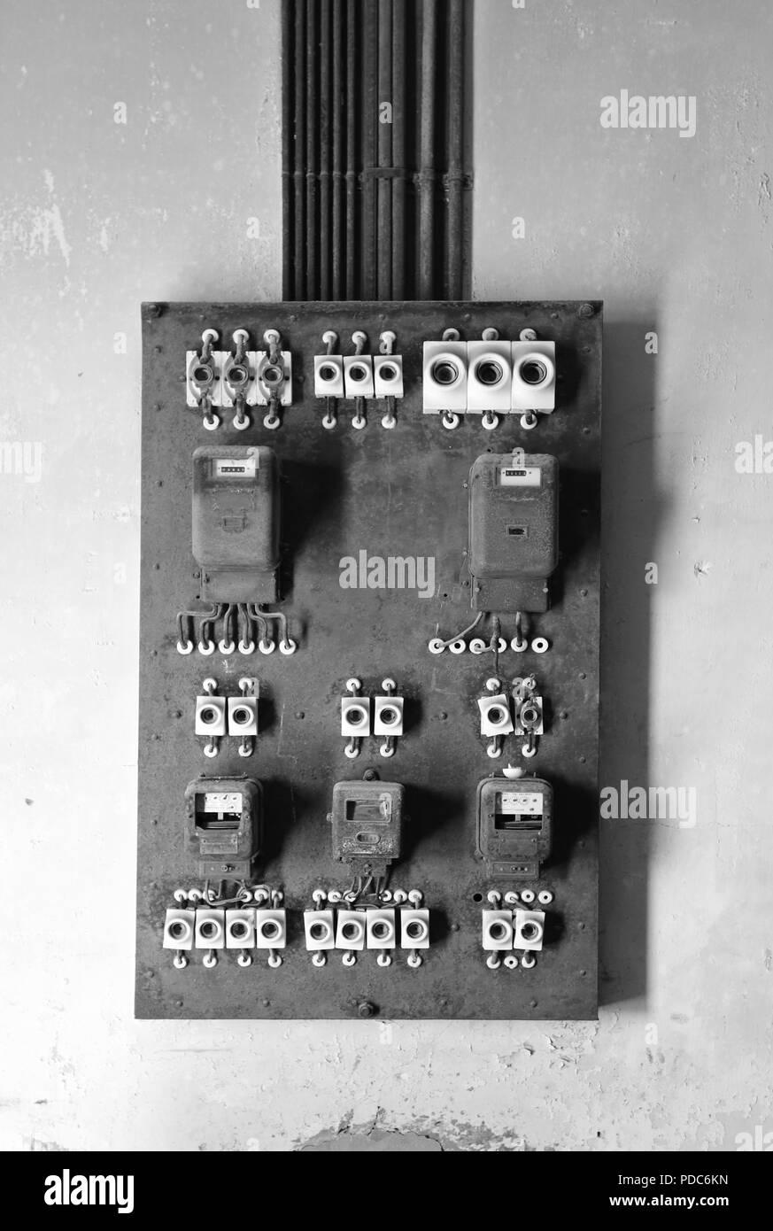 Old electricity meter box, Kolmanskop, Namibia. - Stock Image