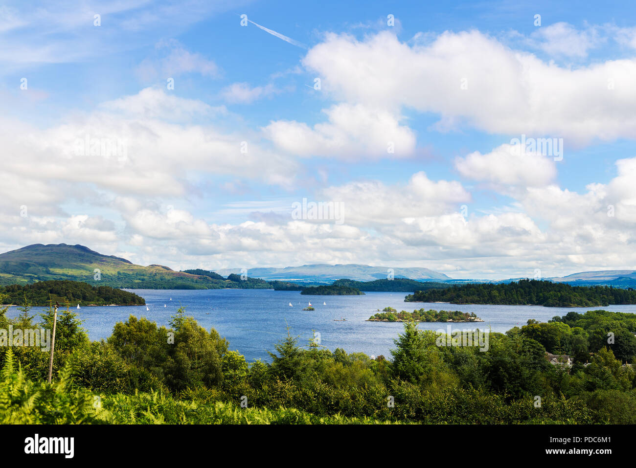 Located on the west side of Loch Lomond lake, the Glen Striddle hills offer a fine hike from the village of Luss and to the highest point, Beinn Dhub, - Stock Image