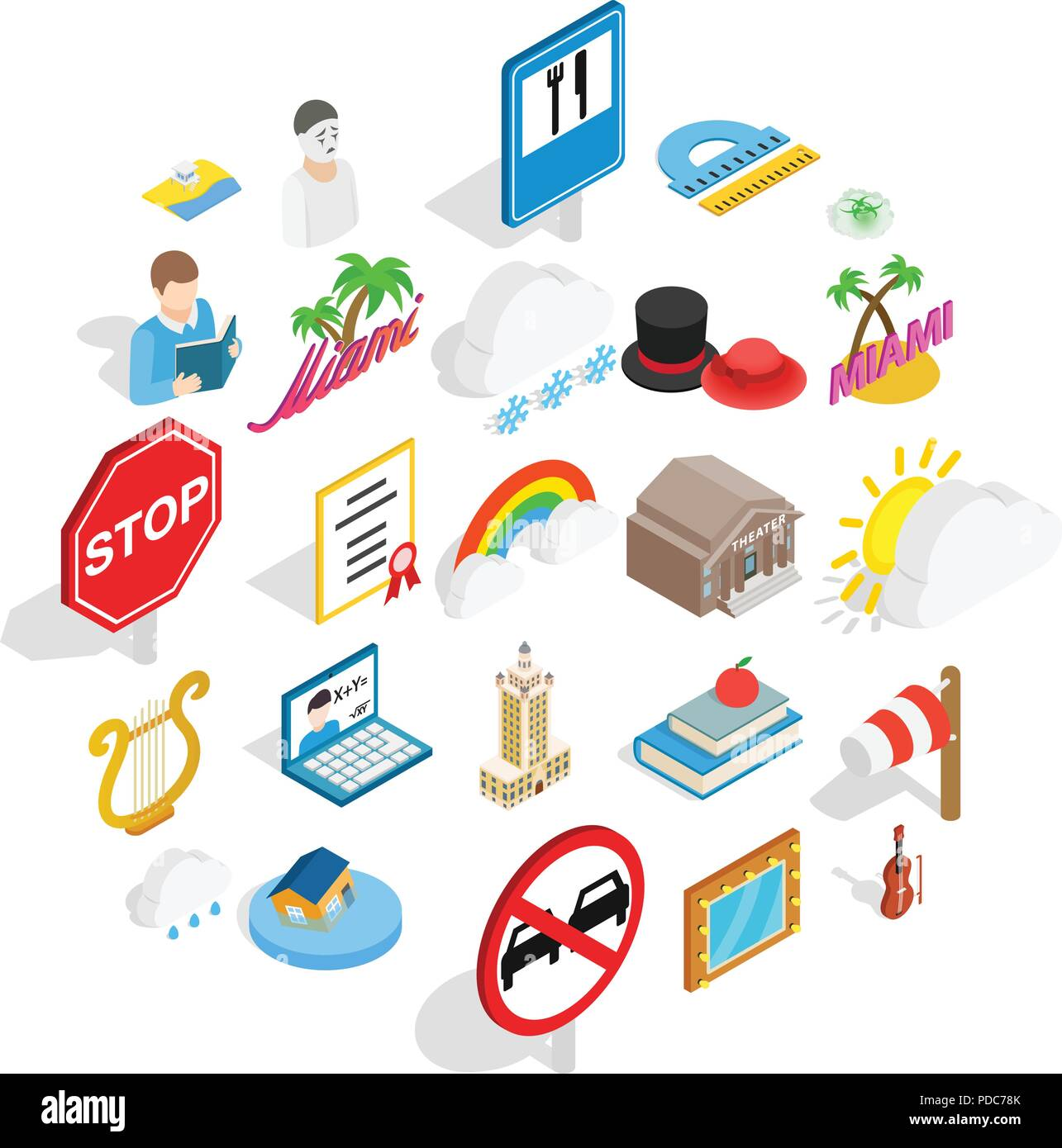 Personality icons set, isometric style - Stock Vector