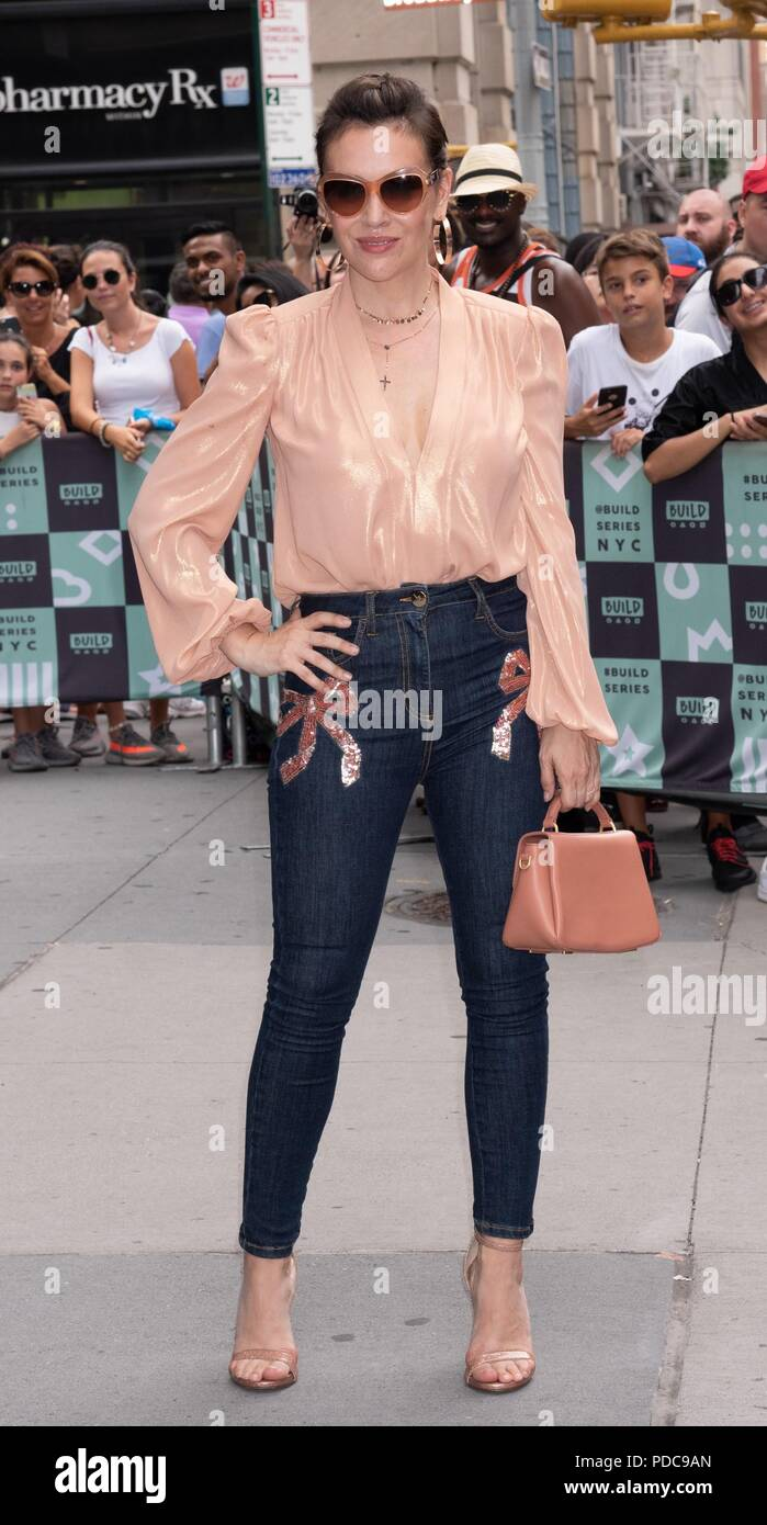 New York, NY, USA. 7th Aug, 2018. Alyssa Milano out and about for Celebrity Candids - TUE, Build Studio NY, New York, NY August 7, 2018. Credit: RCF/Everett Collection/Alamy Live News - Stock Image