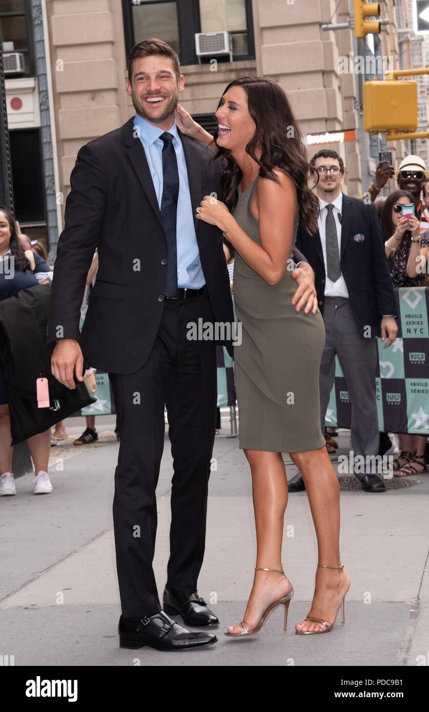 New York, NY, USA. 7th Aug, 2018. Becca Kufrin and Garrett Yrigoyen out and about for Celebrity Candids - TUE, Build Studio NY, New York, NY August 7, 2018. Credit: RCF/Everett Collection/Alamy Live News - Stock Image