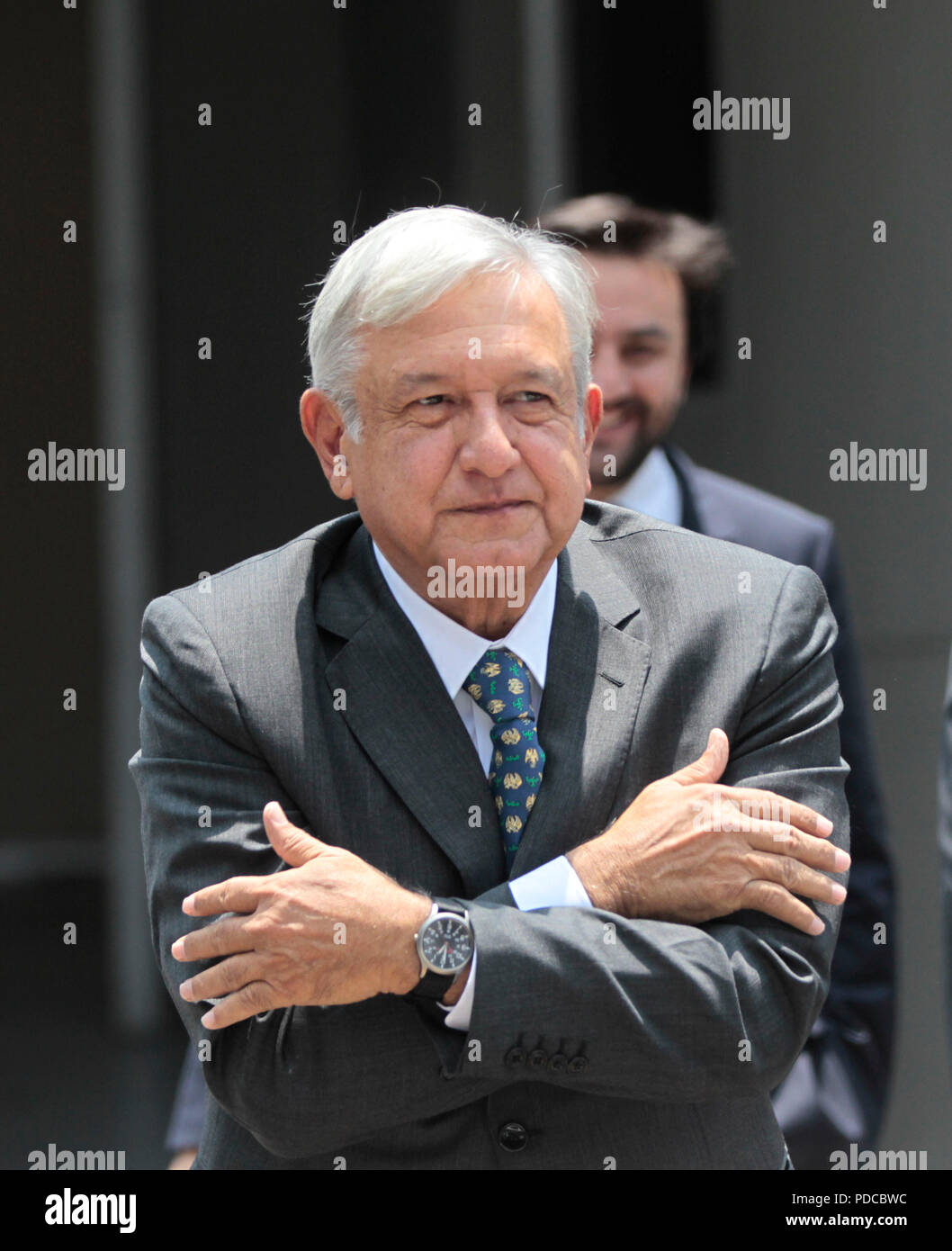 Mexico City, Mexico. 8th August, 2018. Mexico's President-elect Andres Manuel Lopez Obrador greets as he arrives at the Electoral Court of the Federation's Judicial Power, in Mexico City, Mexico, 08 August 2018. The Court validated the Mexican election and Obrador's victory. EFE/Mario Guzman Credit: EFE News Agency/Alamy Live News Stock Photo