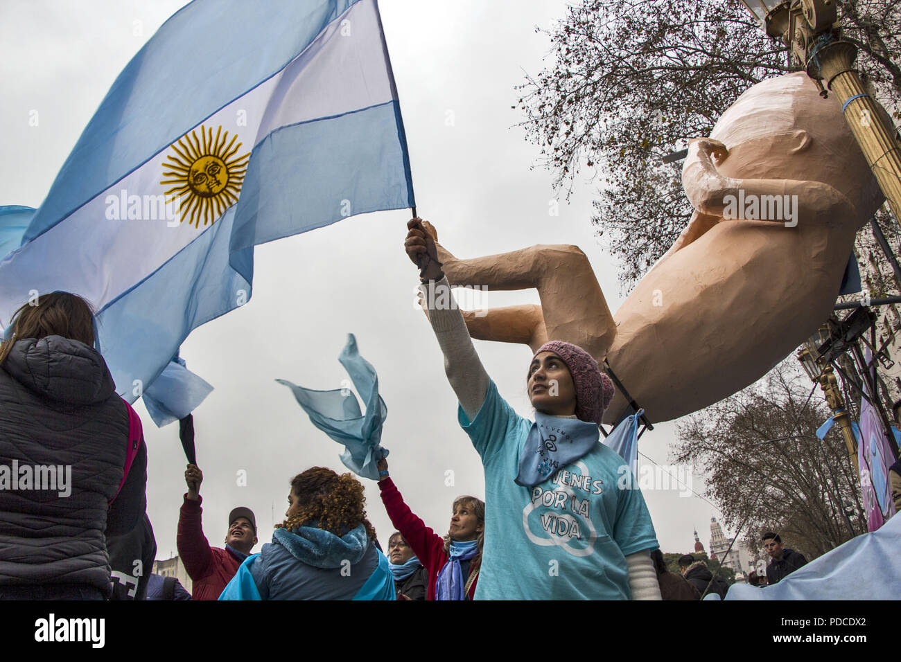 Buenos Aires, Federal Capital, Argentina. 8th Aug, 2018. Historical session in the Argentine Senate: While the law is being discussed in a historic day for all of Latin America, a crowd of people approached the doors of the Senate to accompany the decisive vote, for or against, on the Voluntary termination of pregnancy. Credit: Roberto Almeida Aveledo/ZUMA Wire/Alamy Live News - Stock Image