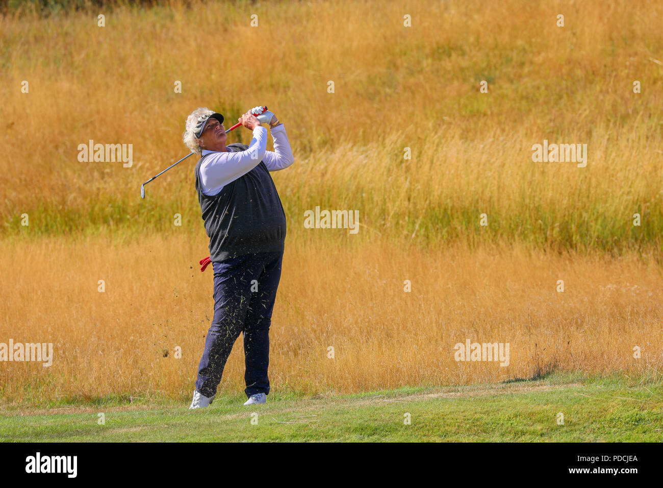 Gleneagles PGA Centenary Course, Perthshire, UK. 9th August 2018. Georgia Hall and Laura Davies, representing Great Britain (1) teed off at 9.00am in the game against Isi Gabsa and Leticia Ras-Anderica who were playing for Germany (2). Credit: Findlay/Alamy Live News - Stock Image