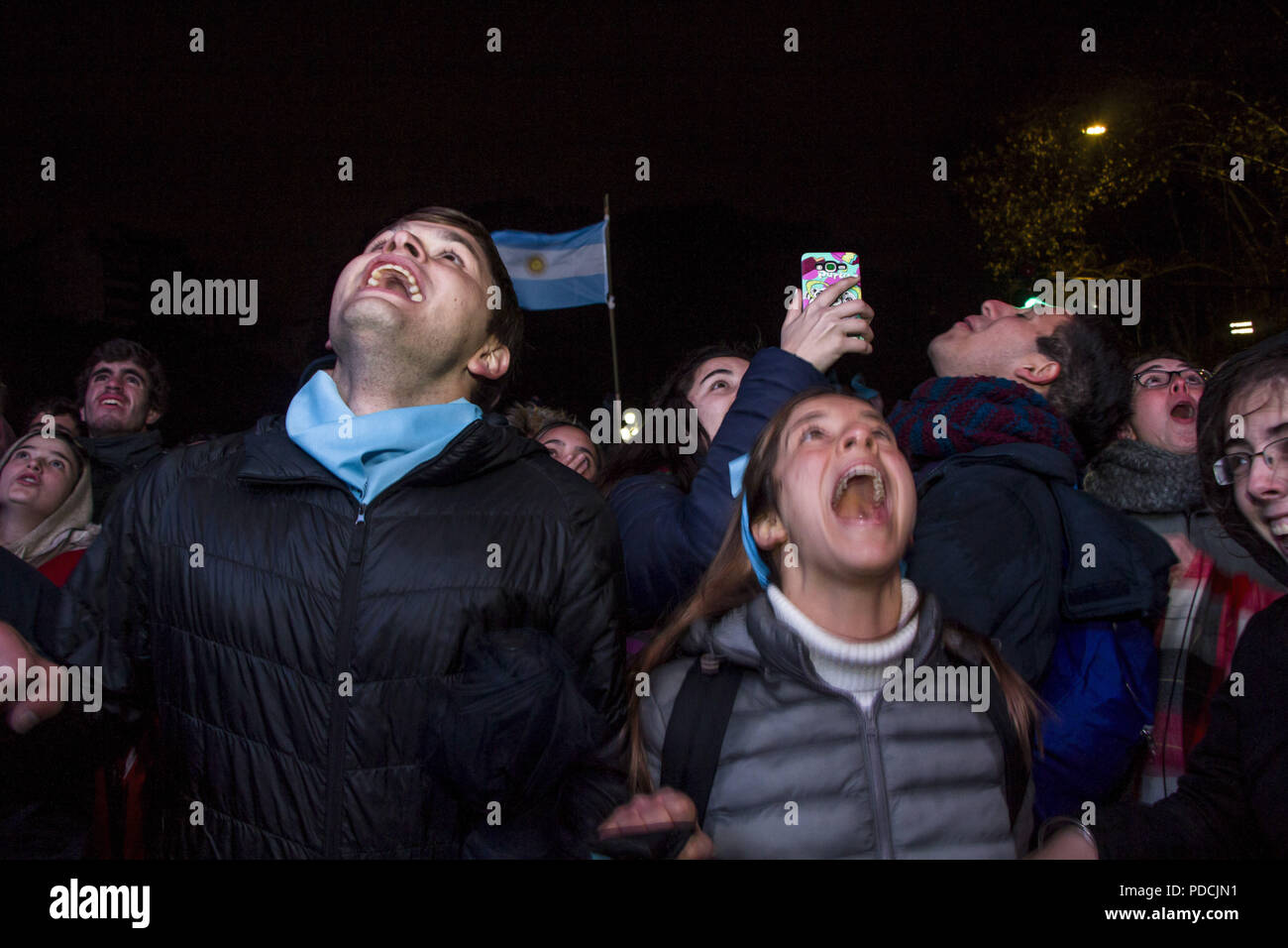 Buenos Aires, Federal Capital, Argentina. 9th Aug, 2018. In the vicinity of the Congress of the Argentine Nation, the people who were against the approval of the Law of Legal Abortion and in favor of the two lives happily celebrate the result of the vote in the Senate Chamber for the disapproval of the proposal, despite having been approved in the Chamber of Deputies. Credit: Roberto Almeida Aveledo/ZUMA Wire/Alamy Live News - Stock Image