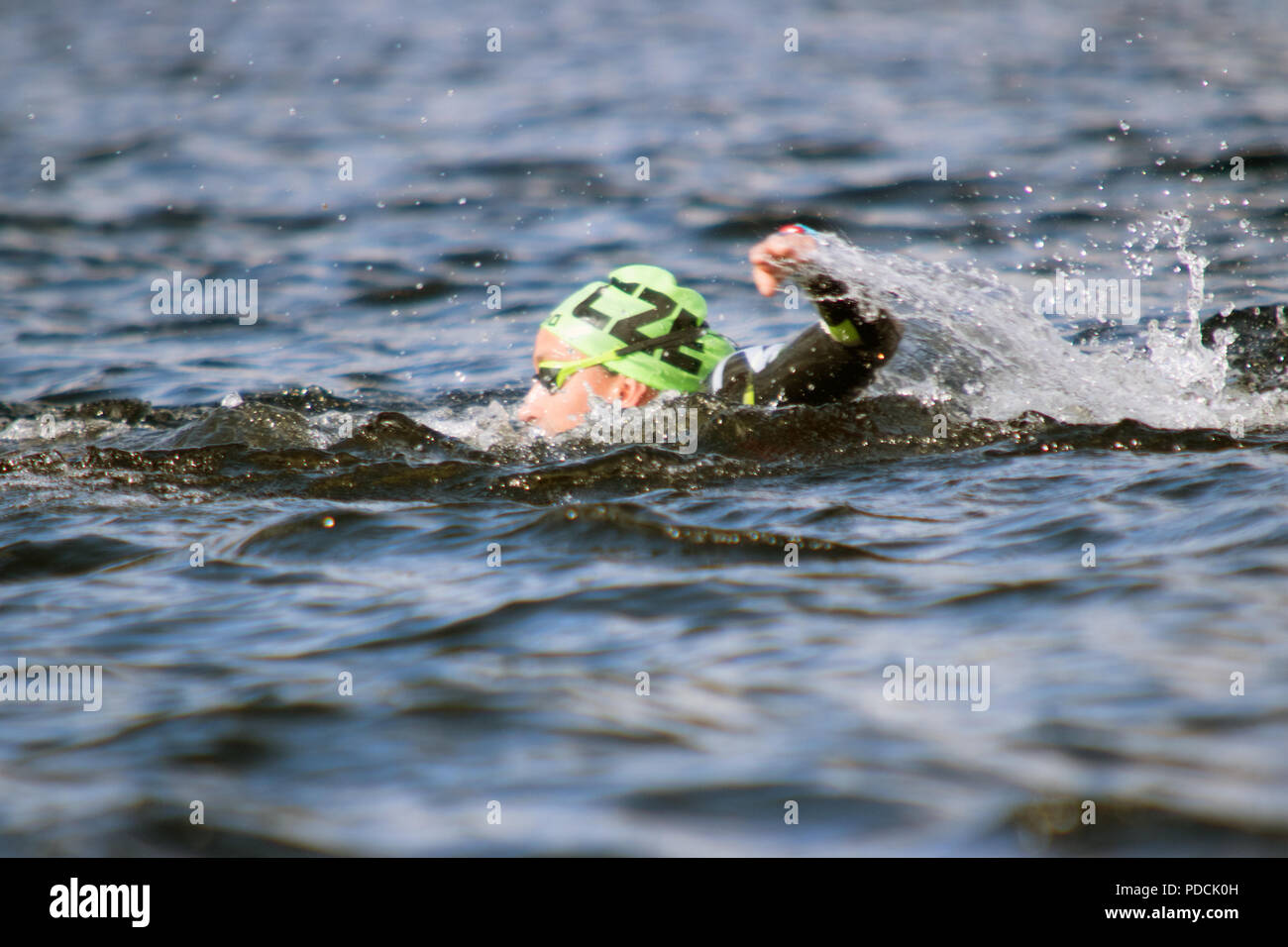 Loch Lomond, Scotland, UK. 9th August, 2018. Czech Republic's Alena Benesova (27) competes in the women's 10-km race final, during Day 8 of the Glasgow 2018 European Championships, at Loch Lomond and The Trossachs National Park. Credit: Iain McGuinness/Alamy Live News - Stock Image