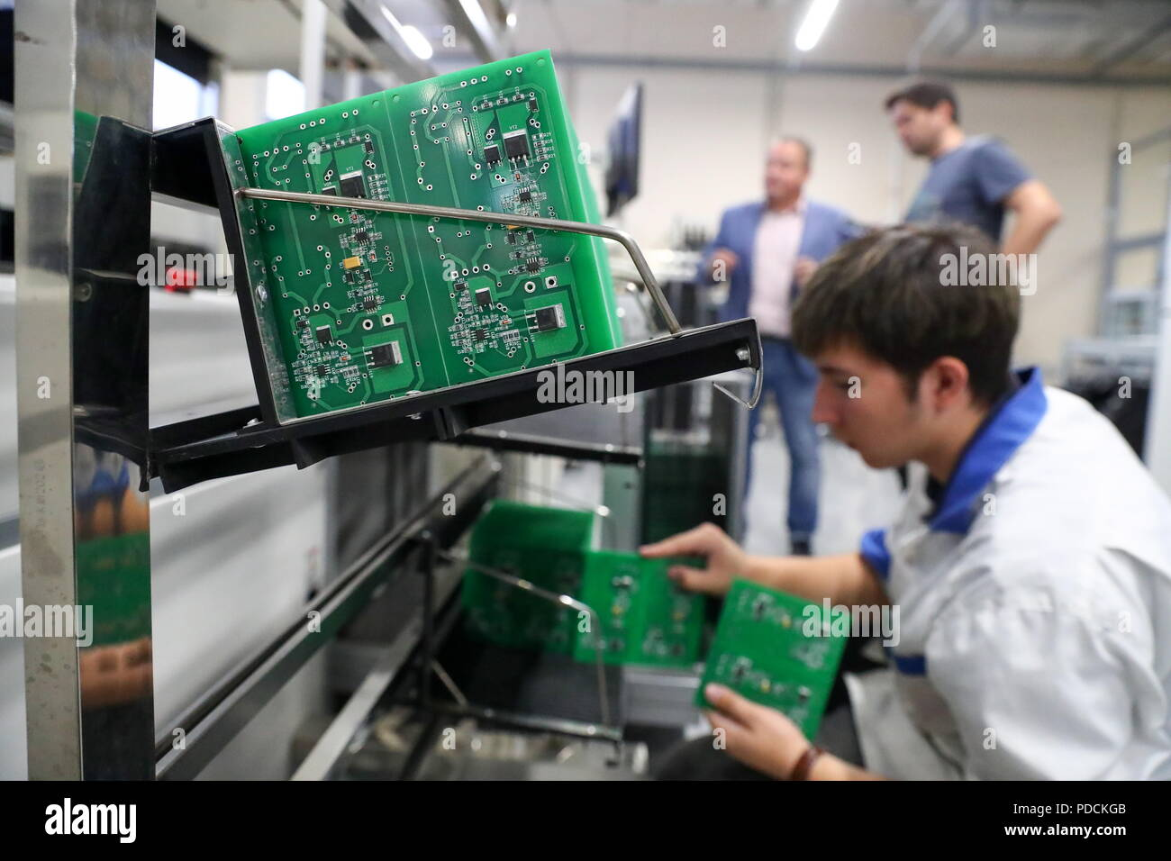 Moscow Russia August 9 2018 Printed Circuit Boards Pcb At Board Manufacturing Manufacturers Mikroem Tekhnologii A Russian Manufacturer Of Electronic Components In Zelenograd
