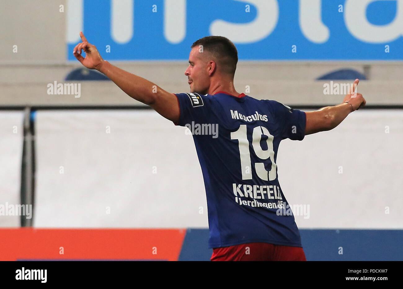 Duisburg, Germany. 08th Aug, 2018. Duisburg, Germany August 8 2018, 3rd league matchday 3, KFC Uerdingen 05 vs SV Meppen: Jubilation 3-2 Lucas Musculus (KFC) Credit: Juergen Schwarz/Alamy Live News - Stock Image