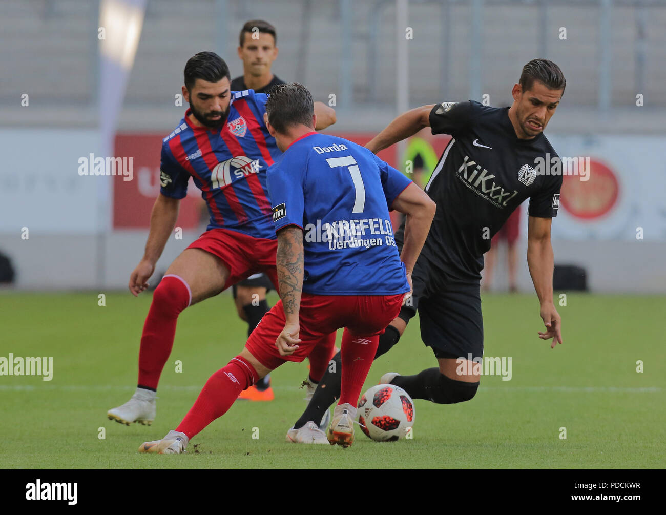 Duisburg, Germany. 08th Aug, 2018. Duisburg, Germany August 8 2018, 3rd league matchday 3, KFC Uerdingen 05 vs SV Meppen: Oguzhan Kefkir (KFC), Christian Dorda (KFC), Luka Tankulic (SVM) in competition. Credit: Juergen Schwarz/Alamy Live News - Stock Image