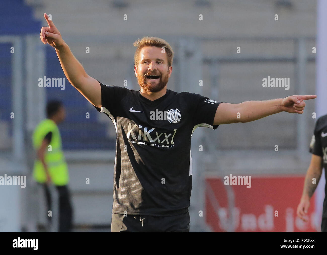 Duisburg, Germany. 08th Aug, 2018. Duisburg, Germany August 8 2018, 3rd league matchday 3, KFC Uerdingen 05 vs SV Meppen: Thilo Leugers (SVM) gestures. Credit: Juergen Schwarz/Alamy Live News Stock Photo