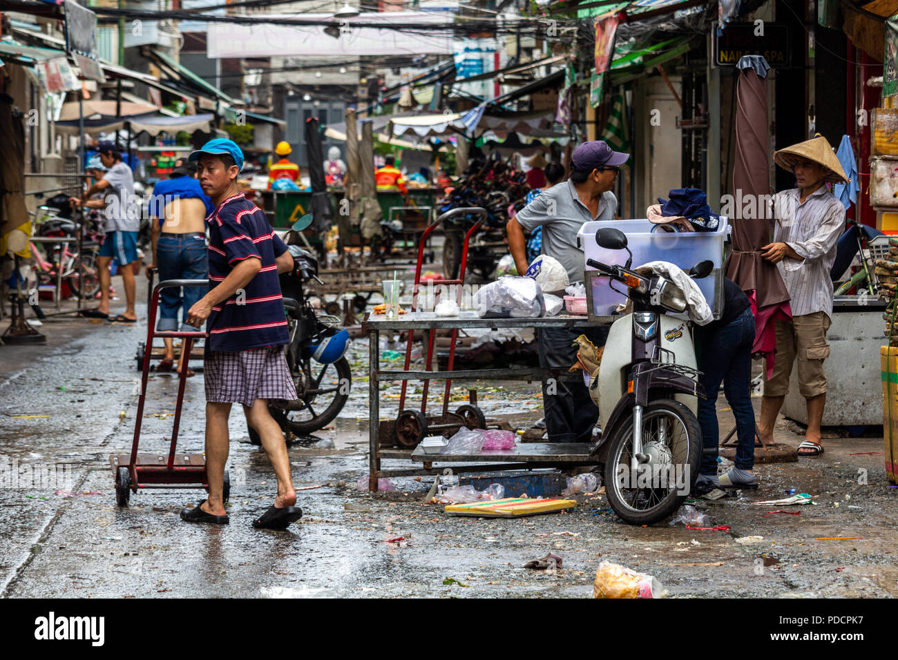 Ho Chi Minh City, Asia - May 12, 2018: Local market being disassembled in central Saigon Stock Photo