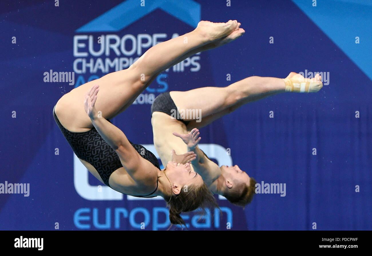 Ukraine's Viktoriya Kesar and Stanislav Oliferchyk during day seven of the 2018 European Championships at Scotstoun Sports Campus, Glasgow - Stock Image