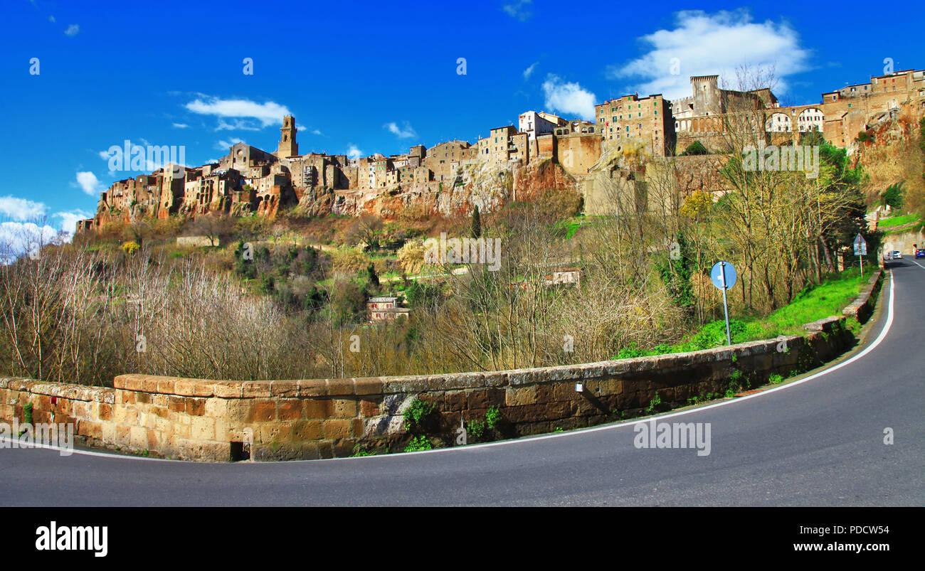 Impressive Pitigliano village,panoramic view,grosseto province,Tuscany,Italy. - Stock Image