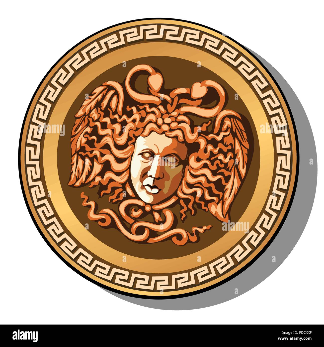 The engraved head of Medusa Gorgon head isolated on white background. Cartoon vector close-up illustration. - Stock Vector