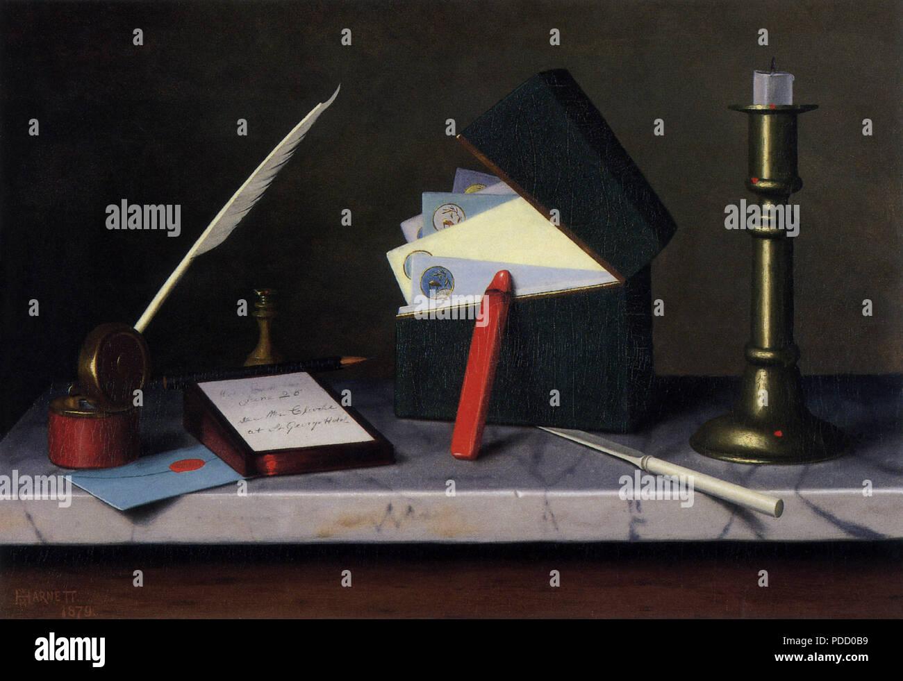 Secretary's Table, Harnett, William M., 1879. - Stock Image