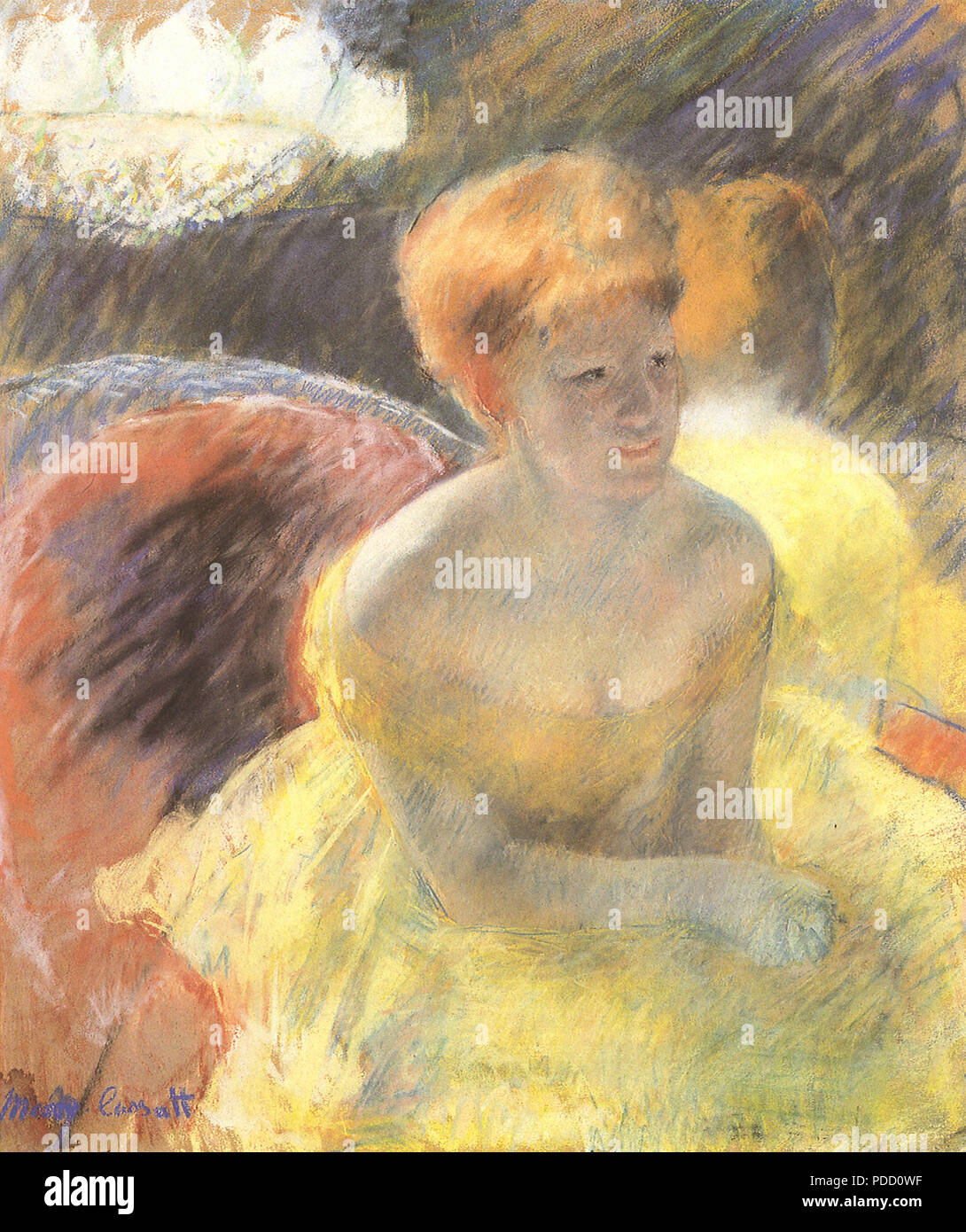 Lydia Leaning on Her Arms, Seated in a Loge, Cassatt, Mary, 1879. - Stock Image