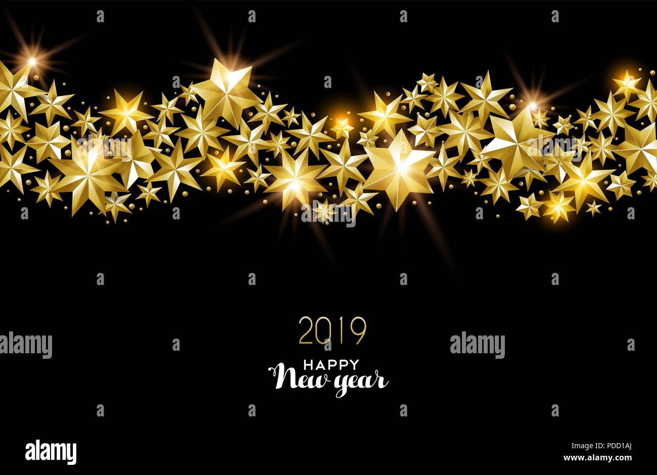 happy new year 2019 gold illustration made of realistic golden stars ideal for holiday card or elegant party invitation eps10 vector