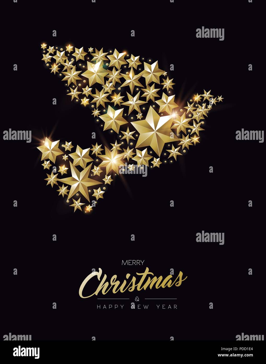 merry christmas new year greeting card with realistic gold stars and glitter making elegant peace dove shape luxury golden decoration for xmas seaso