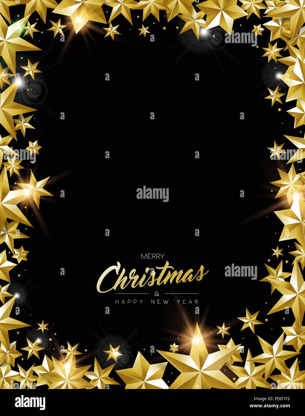 Merry Christmas New Year Greeting Card With Realistic Gold Stars